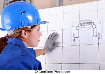 mujer, capataz, el consultar, plan