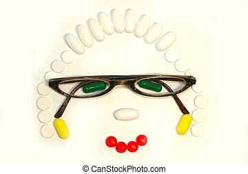 mujer, capsules., anteojos, puesto, afuera, píldoras, cima, ...