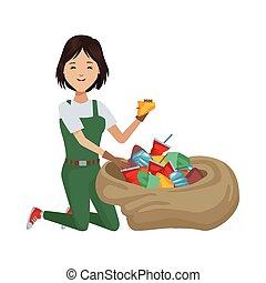 mujer, carácter, ambientalista, avatar, reciclaje