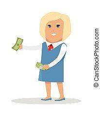 mujer, carácter, con, dinero, vector, ilustración