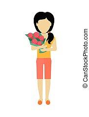 mujer, carácter, plantilla, vector, illustration.