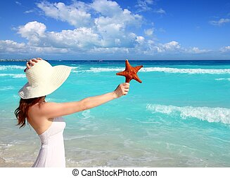 mujer, caribe, estrellas de mar, sombrero, mano, playa...