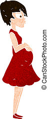 mujer, caricatura, embarazada