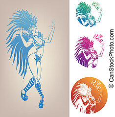 mujer, carnaval, joven, linework, disfraz, bastante, tinta, ...