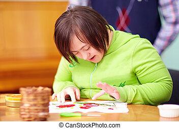mujer, centro, ocupado, incapacidad, joven, artesanía, ...