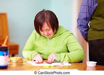 mujer, centro, ocupado, incapacidad, joven, artesanía,...
