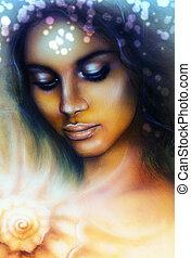 mujer, cerrado, meditar, ojos, arriba, joven, retrato, indio