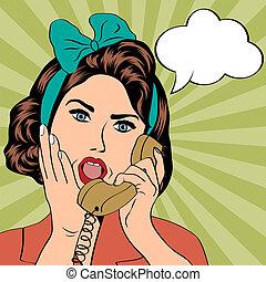 mujer, charlar, por teléfono, arte pop, ilustración