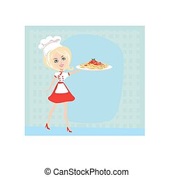 mujer, chef, con, espaguetis