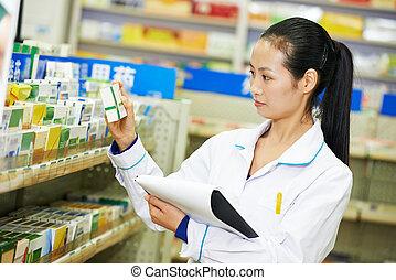 mujer, chino, farmacia, china, farmacia, químico