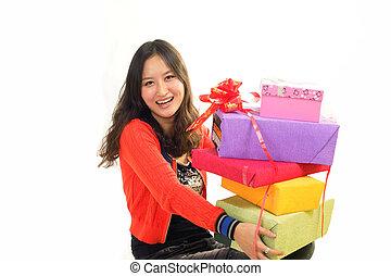 mujer, chino, feliz