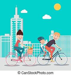 mujer, city., familia , padre, bicycle., bicicletas, equitación, hijo, feliz
