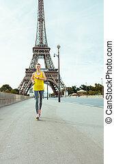 mujer, claro, eiffel, contra, jogging, torre, vista