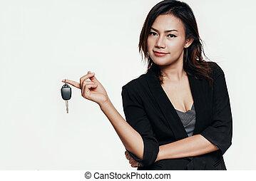 mujer coche, asiático, tenencia, keys.