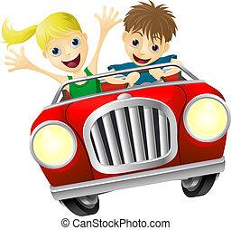 mujer coche, caricatura, hombre