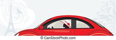 mujer coche, conducción, rojo