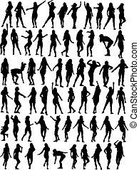 mujer, colección, bailando