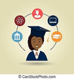 mujer, colegio, graduación, estudiante