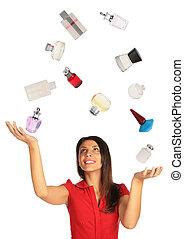 mujer, collage, arriba, mirar, perfumes, malabarismo