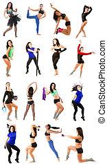 mujer, collage, -, ejercitar, aislado, yoga, plano de fondo,...