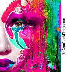 mujer,  Color, Arriba, cara, cierre, retrato