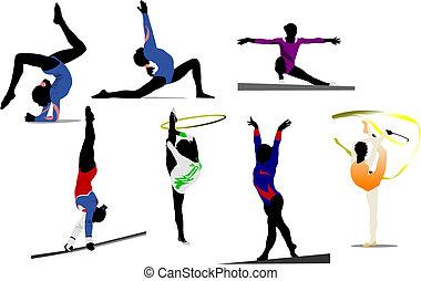 mujer, coloreado, gimnástico, silhouettes., ilustración,...