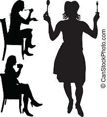 mujer, comer, y, bebida, vector