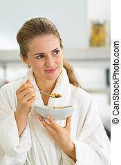 mujer, comida, joven, retrato,  muesli, cocina