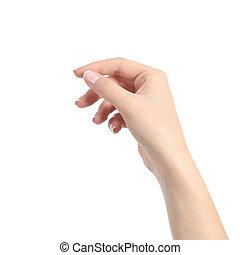 mujer, como, algunos, tenencia de la mano, blanco, tarjeta