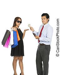 mujer, comprador, dinero, asiático, v, aceptando, marido