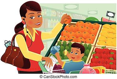 mujer, compras de la tienda de comestibles, con, bebé
