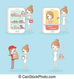 mujer, compras, en línea