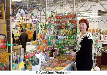 mujer, compras, semillas