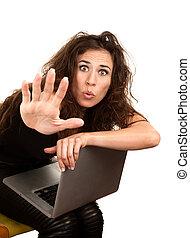 mujer, computadora, bastante