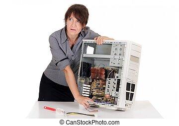 mujer, computadora, enfatizado