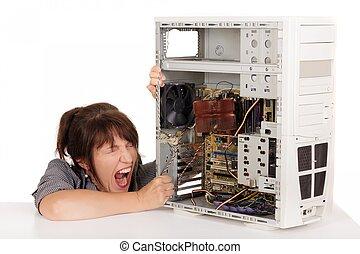 mujer, computadora, histeria