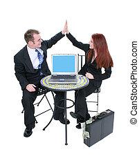 mujer, computadora, hombre