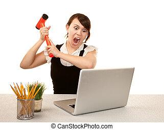 mujer, computadora