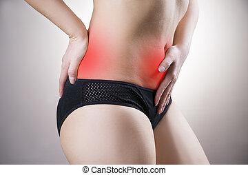 mujer, con, abdominal, y, espalda, pain., dolor, en, el, cuerpo humano