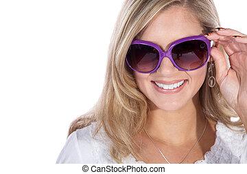mujer, con, anteojos