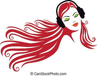 mujer, con, auriculares, vector