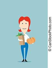 mujer, con, bolsa de papel, lleno, de, comestibles