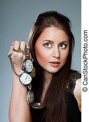 mujer, con, bolsillo, clocks