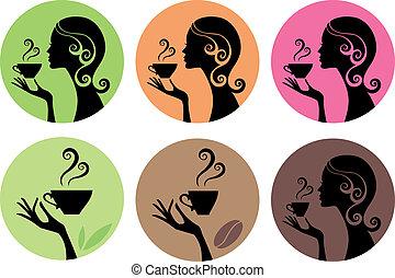 mujer, con, café, y, té, vector