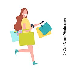 mujer, con, colorido, bolsas, vector, illustration.