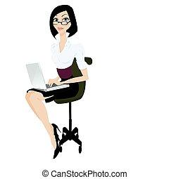 mujer, con, computador portatil, vector, ilustración