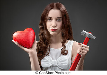mujer, con, corazón roto