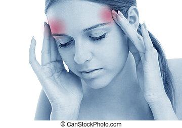 mujer, con, dolor de cabeza
