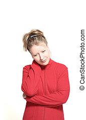 mujer, con, dolor de cuello