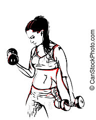 mujer, con, dumbbells